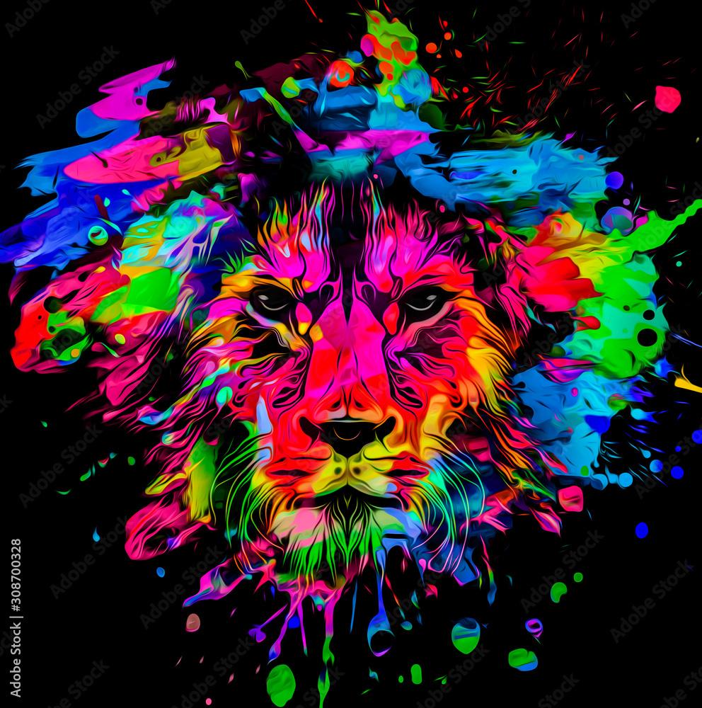 Fototapeta artistic lion on black background