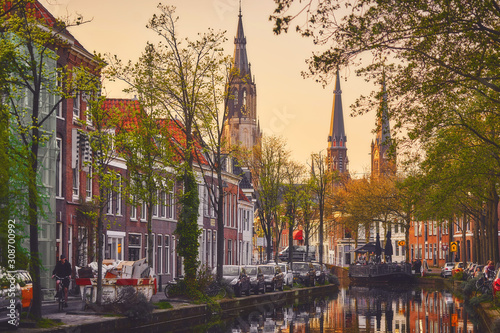 Beautiful view of Delft town and it's canals