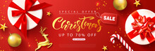 Christmas Sale Web Banner Template. Holiday Background With Gift Boxes, Golden Metal Deer, Christmas Tree Balls, Gold Stars And Confetti. Vector Illustration For Coupons,promotional Material,website