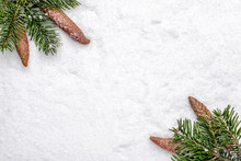 Christmas Background With Snow And Christmas Pine Branch With Pine Cones. New Year's Composition, Flat Lay, Top View