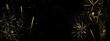 Goldenes Feuerwerk auf schwarzem Hintergrund-abstrakter Hintergrund, Banner für Silvester und Neujahr oder Geburtstag