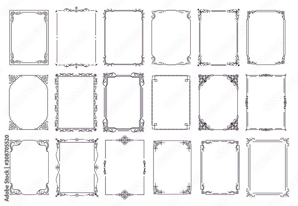 Fototapeta Vintage ornament frame. Decorative border frames, retro style divider. Elegant vintage frame and wedding ornaments Isolated icons vector set. Calligraphic filigree black ink borders collection