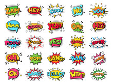 Comic Book Bubbles. Cartoon Explosions Funny Comical Speech Clouds, Comics Words, Thinking Bubbles And Graphic Conversation Text Elements Vector Illustration Set. Comic Book Emotional Bubbles
