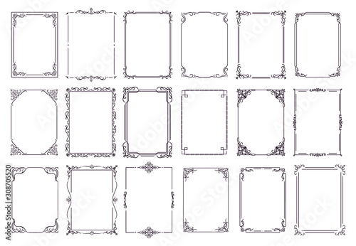 Fototapety, obrazy: Vintage ornament frame. Decorative border frames, retro style divider. Elegant vintage frame and wedding ornaments Isolated icons vector set. Calligraphic filigree black ink borders collection
