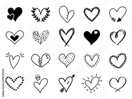 Fototapeta Doodle love heart. Loving cute hand drawn sketched hearts, doodle valentine heart shape drawing elements for greeting cards and valentines day design vector isolated icons set. Sketchy amour pack obraz