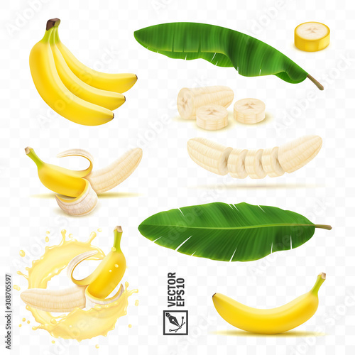 Obraz na plátne 3d realistic vector set of banana fruits, bunch of bananas, peel, peeled banana,