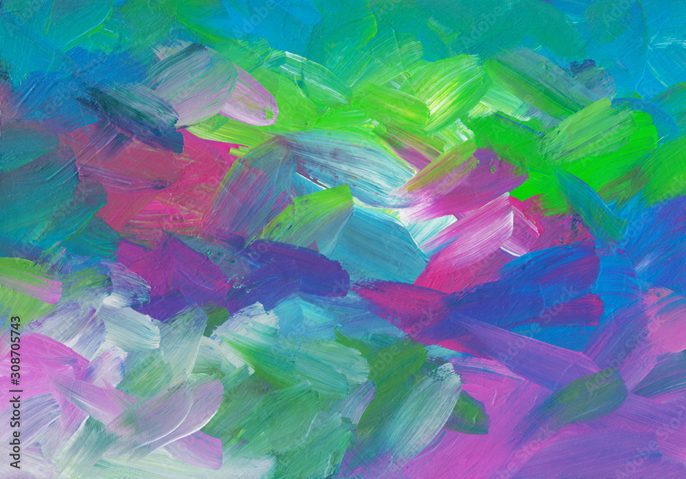 Abstract art colorful background painting. Green, blue, pink, purple, turquoise, white brush strokes on paper texture. Contemporary artwork.