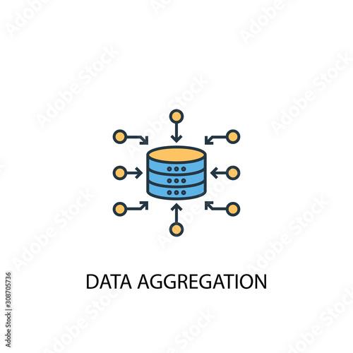 Photo Data Aggregation concept 2 colored line icon