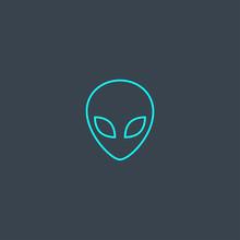 Alien Concept Blue Line Icon. ...