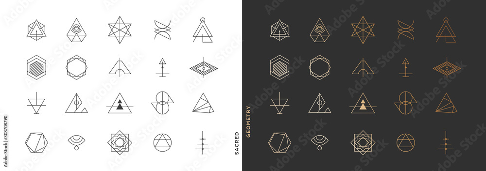 Fototapeta Set of abstract sacred geometry symbol vector elements template, clean minimal geometric logo collection