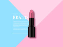 Lipstick Makeup Ad, Cosmetics Beauty Product. Geometric Flat Lay In Pastel Colors, Top View. Minimalist Vector Template For Advertisement.