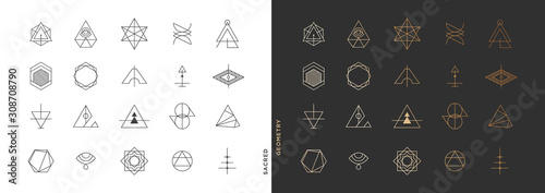 Photo Set of abstract sacred geometry symbol vector elements template, clean minimal g