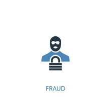 Fraud Concept 2 Colored Icon. Simple Blue Element Illustration. Fraud Concept Symbol Design From Analytics Set. Can Be Used For Web And Mobile UI/UX