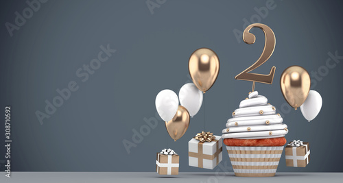Fototapeta Number 2 gold birthday cupcake with balloons and gifts. 3D Render obraz
