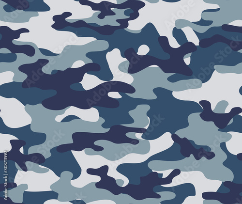 Photo Blue army camouflage seamless print pattern.