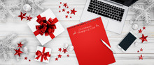 Shopping List, Laptop, Smartphone And White Gift Box With Red Bow And Stars On White Wooden Background - 3D Illustration