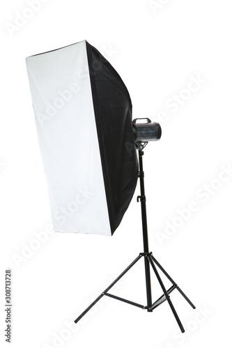 Obraz Studio lighting with softbox isolated on white background - fototapety do salonu