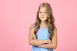 canvas print picture - Pretty little girl on pink background