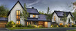 Leinwanddruck Bild - Beautiful houses with solar panels on the roof