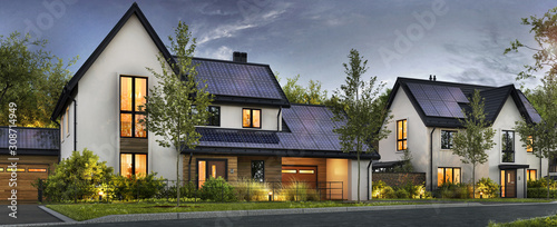 Beautiful houses with solar panels on the roof