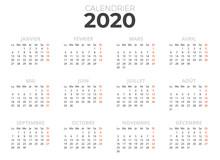 Calendrier Français 2020 Bla