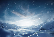 A Snow Landscape On A Frosty W...