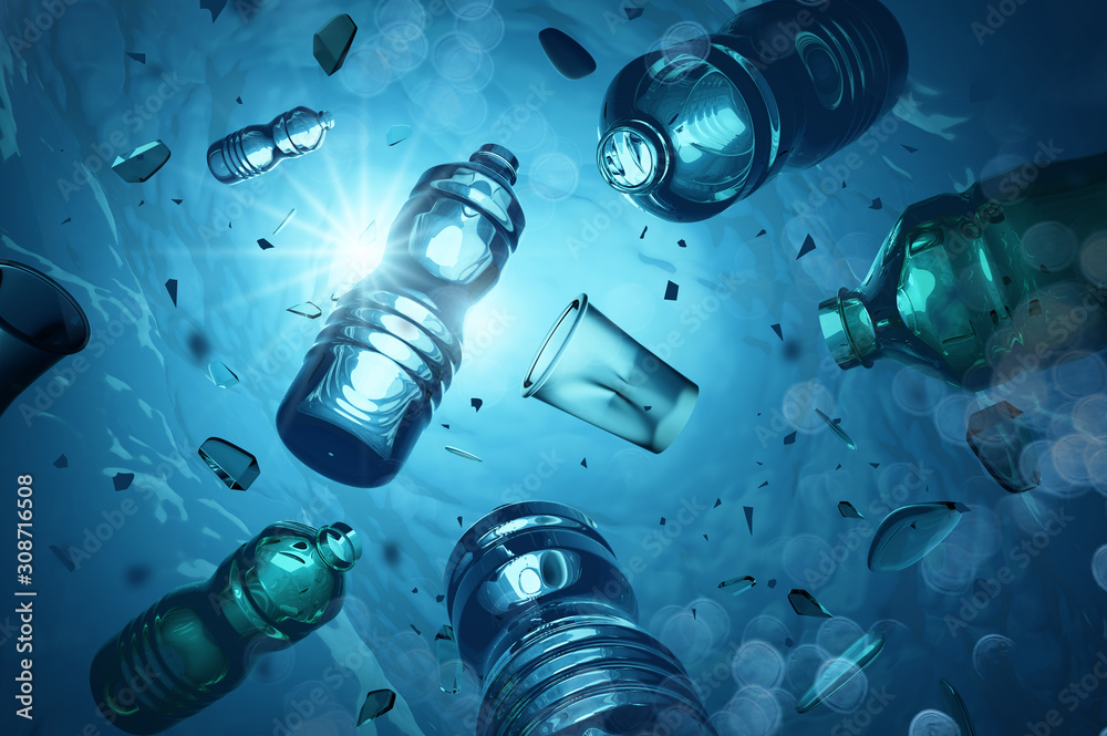 Fototapeta Problem plastic bottles and microplastics floating in the open ocean. Marine plastic pollution concept. 3D illustration