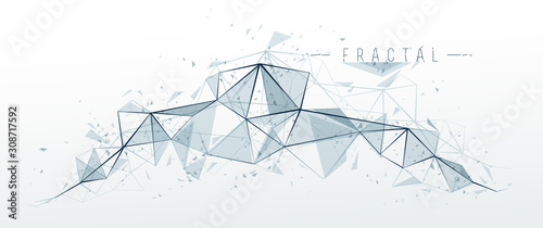 Mesh object fractal design with connected lines vector abstract background, low poly polygonal elements in 3D perspective, science and technology theme. - 308717592