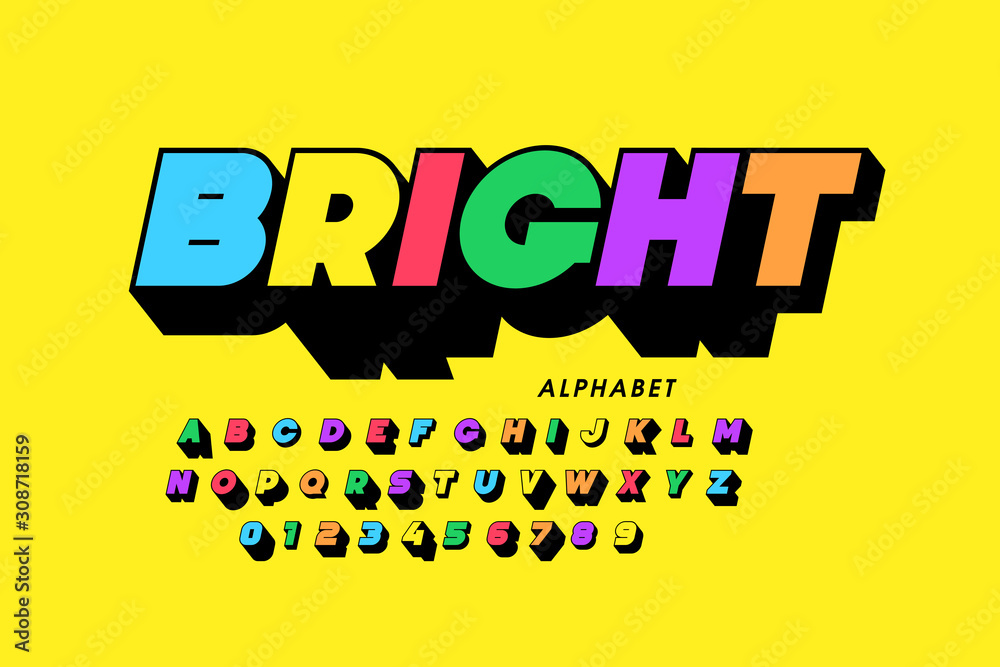 Fototapeta Vibrant colorful style font design, alphabet letters and numbers