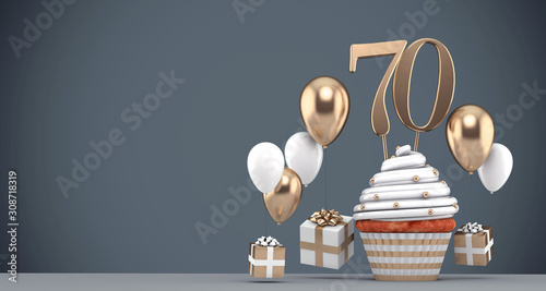 Fotografia Number 70 gold birthday cupcake with balloons and gifts