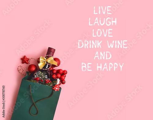 Valokuvatapetti Live, laugh, love, drink wine and be happy