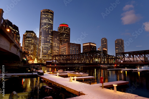 Sticker - Night view of winter Boston. View of the river bay, bridges and night buildings. USA. Boston. Massachusetts.