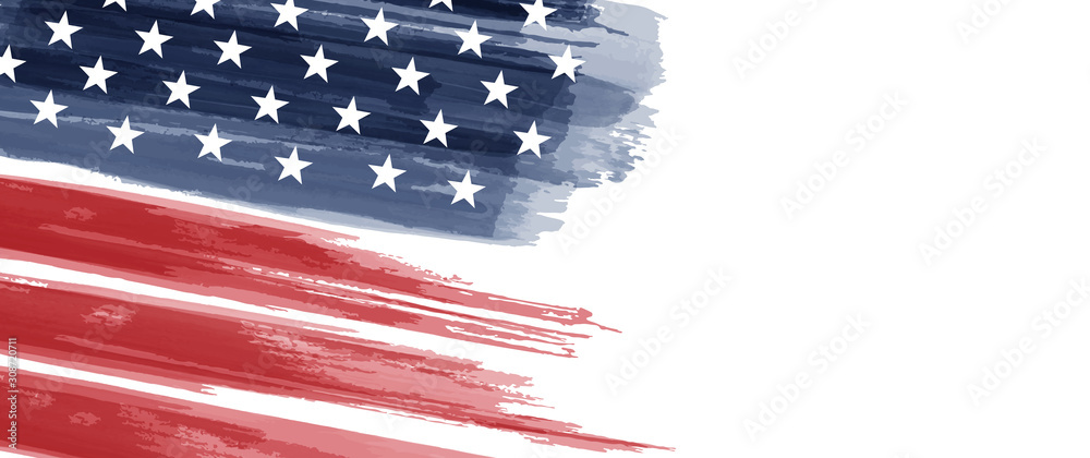 Fototapeta American National Holiday. US Flag with American stars, stripes and national colors. Watercolors.