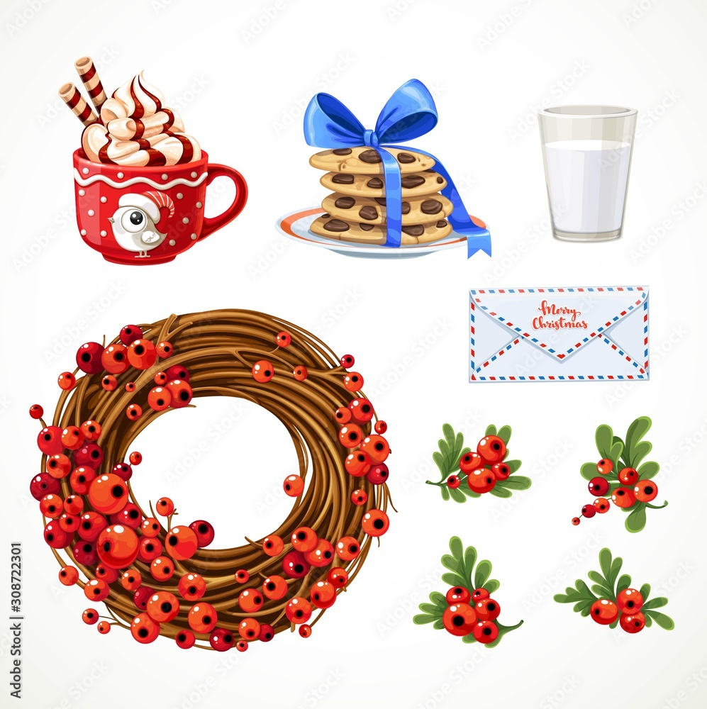 Fototapeta Set of Christmas objects cup with whipped cream, letter, Christmas wreath with red berries, milk and cookies isolated on white background