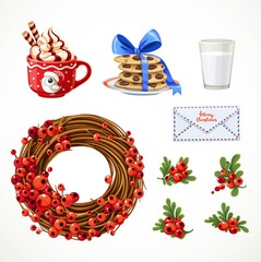 Set of Christmas objects cup with whipped cream, letter, Christmas wreath with red berries, milk and cookies isolated on white background