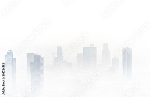 Minimalistic and foggy aerial and artistic view from Istanbul during sunset