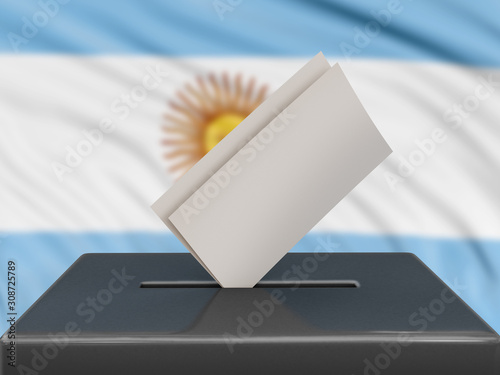 Ballot box with Argentina flag on background Canvas Print