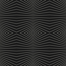 Vector Stripes Pattern. Geometric Seamless Texture With Thin Refracted Lines. Abstract Monochrome Striped Background, Repeat Tiles. Optical Illusion Effect. Dark Design For Decoration, Digital, Web