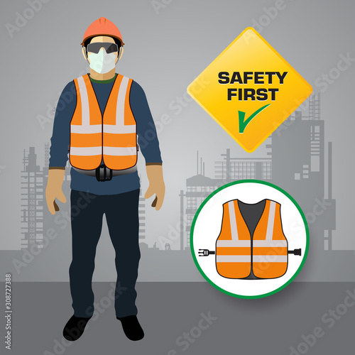 Fotomural safety vest, construction site,vector design