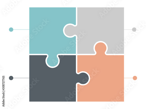 Obraz jigsaw puzzle or autism puzzle piece symbol flat vector icon for apps and websites - fototapety do salonu