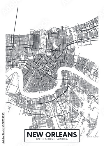 Foto City map New Orleans, travel vector poster design