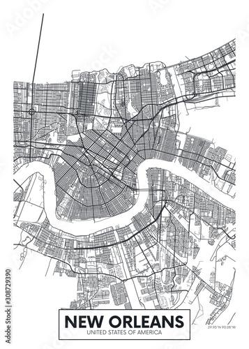 City map New Orleans, travel vector poster design Wallpaper Mural