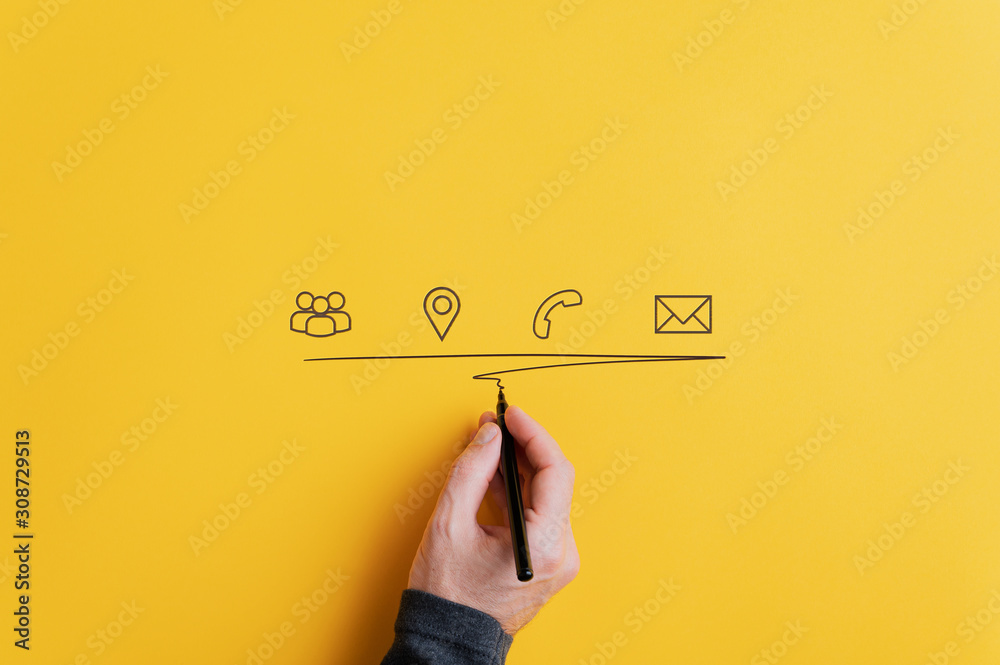 Fototapeta Contact and communication icons on yellow background