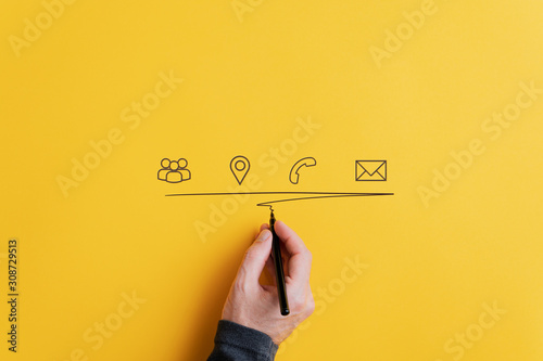 Contact and communication icons on yellow background Fototapete