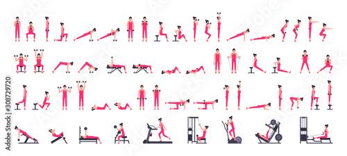 Fototapeta Woman gym set. Women workout set. Women Fitness Aerobic and Exercises. isolated on white background obraz