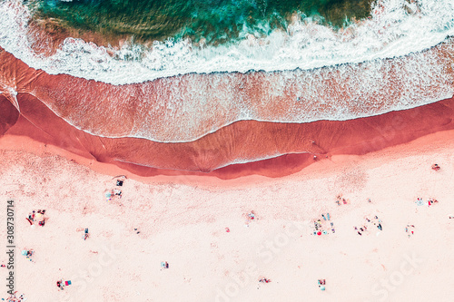 People Crowd On Beach, Aerial View In Summer Canvas Print