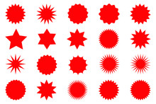 Set Of Red Star Or Sun Shaped ...
