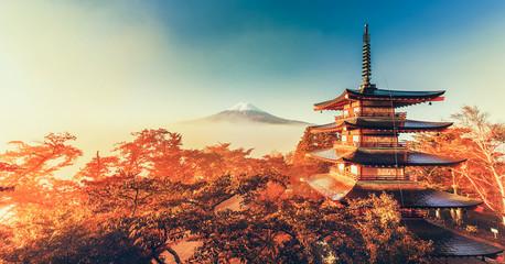 Mt. Fuji and Chureito Pagoda with cloud sea at dawn, Japan.