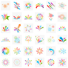 Set Of Firework Line Icon And ...