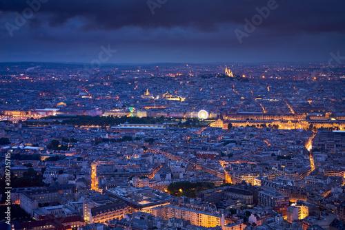 Paris aerial view at twilight with the Jardins des Tuileries, Le Louvre and Montmartre Sacré-Coeur Fototapet